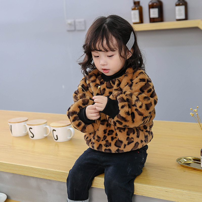 2019 Korean-style Childrenswear Bao Ban Solid Color Leopord Pattern Printed Wool Sweater Winter CHILDREN'S Sweater B672