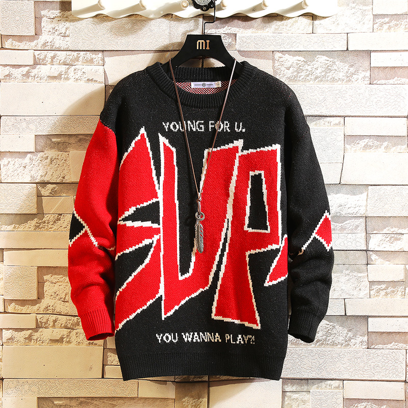 2021 New Sweaters Men'S Black Blue Red Long Sleeves Autumn Winter Pullover Knitted O-Neck Plus OverSize 5XL