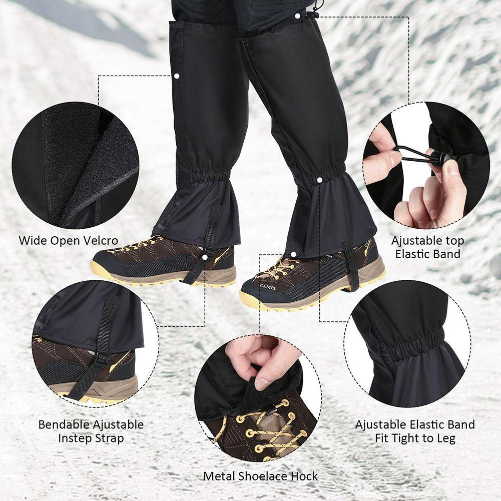 1 Pair Hiking Ski Leg Protector Elastic Easy Wear Cover Gaiter Waterproof Breathable Leg Walking Outdoor Warmer Huntin U8C9