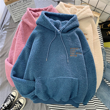 New Autumn Winter Thick Warm Hoodies Velvet Cashmere Women Hoody Sweatshirt Solid Pullover Casual Tops Lady Loose Long Sleeve women solid color plush hooded sweatshirt autumn winter long sleeve loose warm hoodies coat pockets casual fashion outwear tops