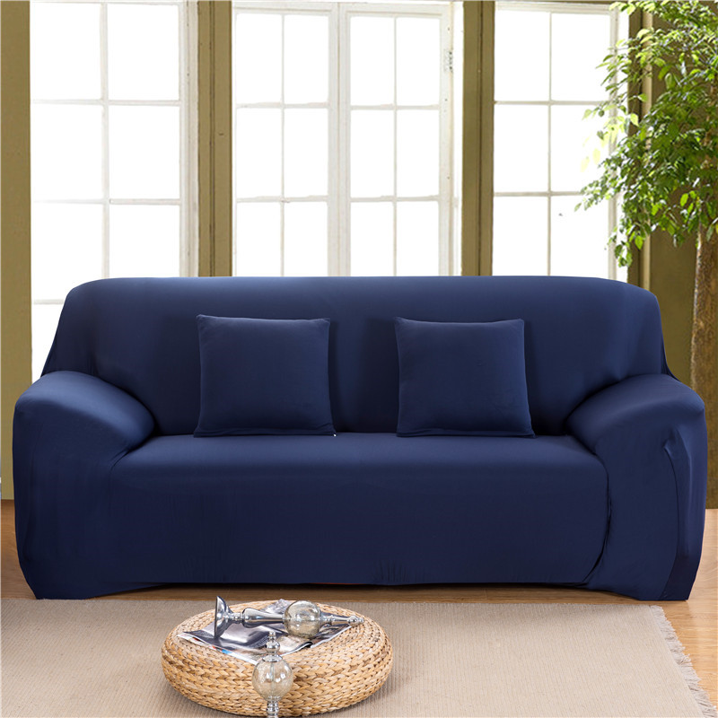 Solid Color Elastic Couch Cover made of Stretchable Material for Singe to 4 Seated Sofa in Living Room