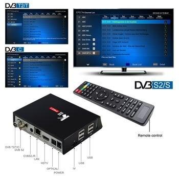 KII Pro DVB S2 DVB T2+S2 Android 7.1 TV Box Amlogic S905D Quad-core Bluetooth 2GB/16GB 2.4G/5G Wifi Smart Media Player mecool kiii pro dvb s2 dvb t2 decoder android 7 1 tv box 3gb 16gb amlogic s912 octa core k3 pro 4k combo newcamd hybrid tv box