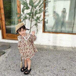 Image 4 - Bahar yeni varış kore tarzı pamuk çiçekler desen dantel yaka prenses uzun kollu elbise için sevimli tatlı bebek kız