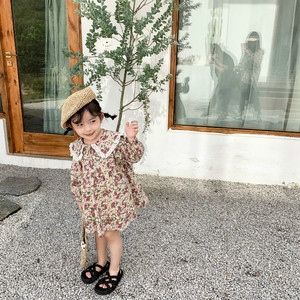 Image 4 - Spring New Arrival korean style cotton flowers pattern lace collar princess long sleeve dress for cute sweet baby girls