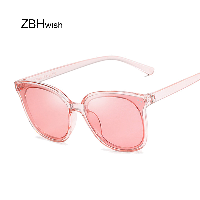 Cat Eye Sunglasses Women Brand Designer For Ladies Retro Vintage Mirror Transparent Frame Round Sun Glasses Female
