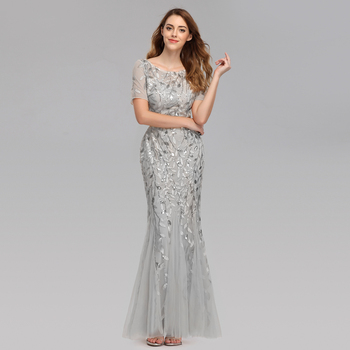 Plus Size Evening Dresses Mermaid O Neck Short Sleeve Lace Appliques Tulle Long Party Gown Robe Soiree Sexy Formal Dress vestido 2