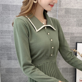 9308 actual photo of new knitted square collar woolen dress female slim 75 -- 1 / F, 7 rows, 2 shelves 2