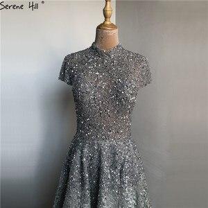 Image 4 - Dubai luxe argent asymétrique robes de soirée 2020 col haut perles paillettes robe formelle sereine colline LA60757