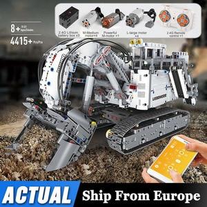 Image 1 - עובש מלך טכני לבני שלט רחוק 42100 Liebherrs חופר R9800 מנוע כוח רכב דגם ערכת אבני בניין צעצועי DIY