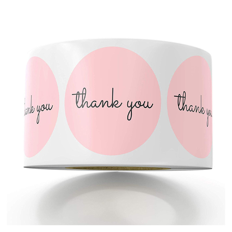 Pink Paper Label Stickers Foil Thank You Wedding Stickers Scrapbooking 1in 50-500pcs Envelope Seals