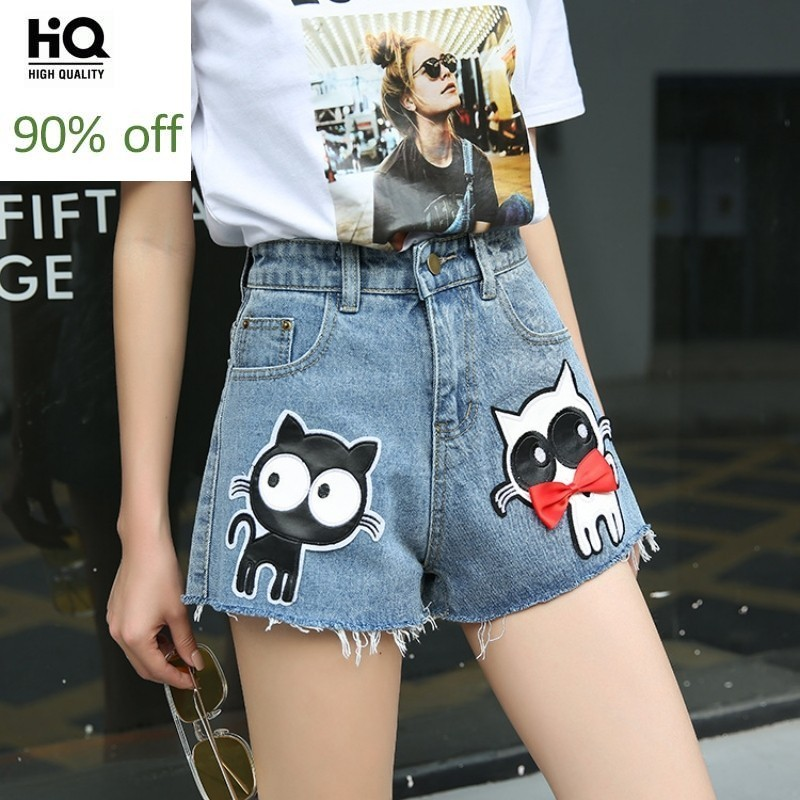 Summer New Denim Shorts Women Loose Fit Cute Cat Embroidery Pattern Short Jeans Student Casual High Waist Cowboy Hot Pants Femme