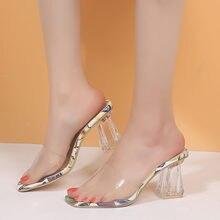 Прозрачные Босоножки на каблуке; Женские модные летние туфли