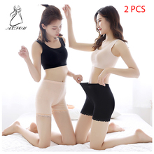 2 Pcs 2019 Ladies Anti-light Seamless Safety Pants Ice Silk Large Size Black and White Skin Breathable Short Tights