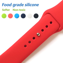 Купить с кэшбэком Colorful Soft Silicone Sport Band For Apple watch Series 4 3 2 1 Replace Bracelet Strap For iWatch 42mm 38mm Edition Replacement