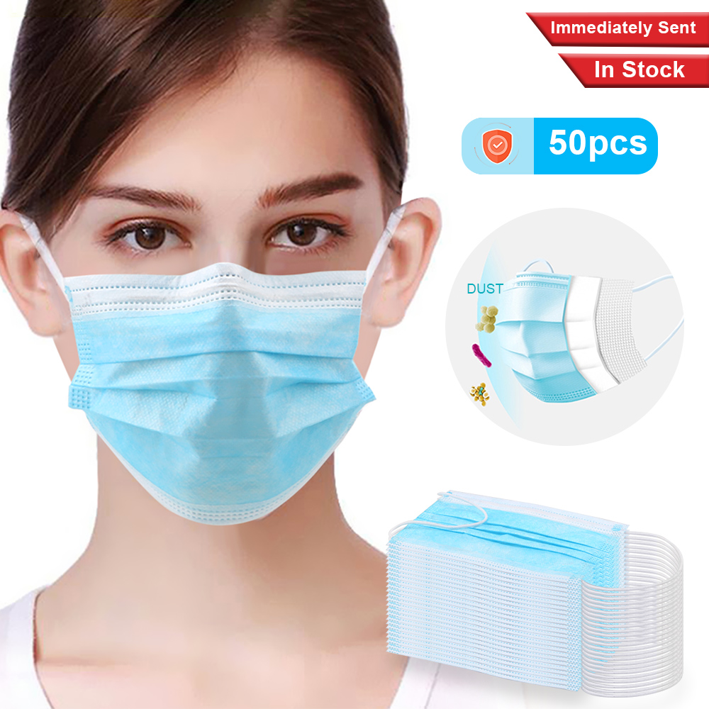 50Pcs 3 Layer Non Woven Disposable Breathing Safety Face Mouth Masks Anti-Dust Earloops Masks