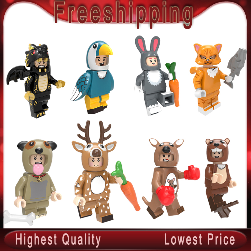 Single Sale Building Blocks Pumping Series Animal Otter Sika Dragon Deer Kangaroo Rabbit Cat Figures Toys For Children PG8223