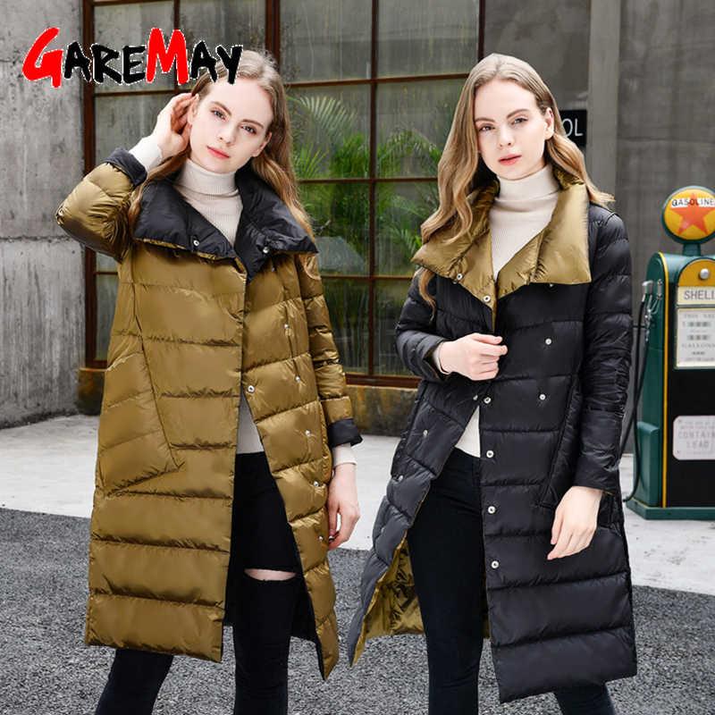 Зимняя куртка для женщин, Двухсторонний пуховик, длинная куртка, зимняя водолазка, белый утиный пух, пальто, двубортная, теплая парка