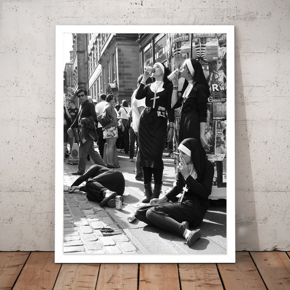 Rebellious Nuns Print Black and White Photography Poster Nuns Smoking Wall Art Picture Canvas Painting Home Room Wall Allah Art