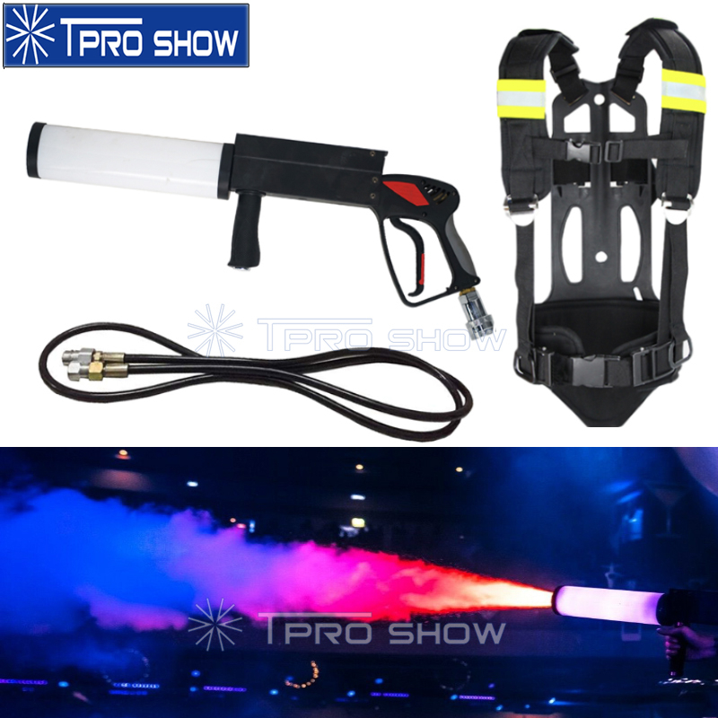 Handheld DJ Gun CO2 Cryo Effect Machine CO2 Pistola RGB Colors Wash LED Jet Pistol Cannon With Cylinder Backpack For Disco Club