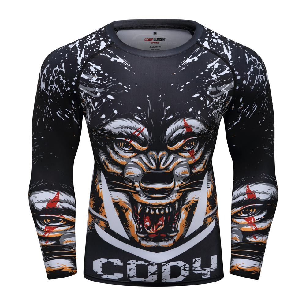 Brand New Men Boxing T-shirt Quick Dry Running Tees Muay Thai  Tight Slim Sport Tops MMA Fighting Training  Fitness Gym T-Shirts