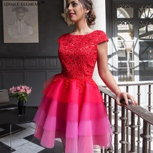 A-line Cap Sleeves Elegant Cocktail Short Tulle Lace Party Plus Size Homecoming Dresses