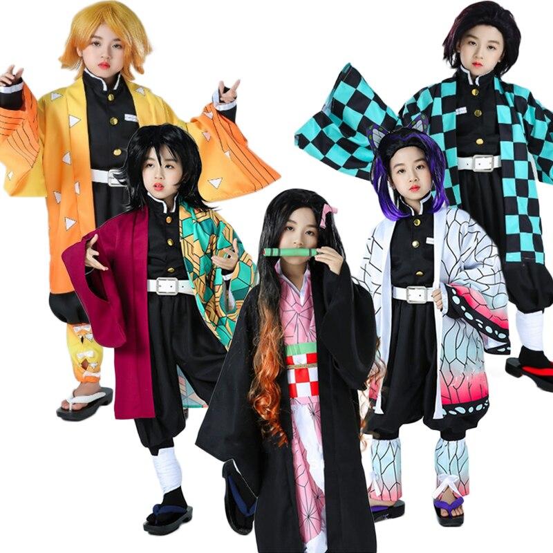 Meninas crianças anime demônio slayer kimetsu não yaiba cosplay kamado tanjirou/agatsuma zenitsu/kochou shinobu traje adulto criança c90c36