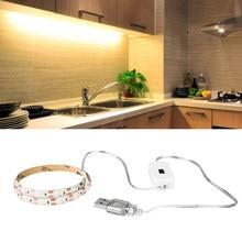 5m USB LED pod światła do szafki z ręcznym czujnikiem zamiatania SMD 2835 5V kuchnia sypialnia lampka nocna 60 leds/m diody diody na wstążce