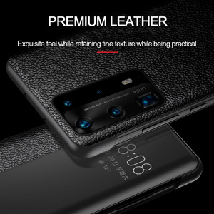 Image 4 - For Huawei P40 Pro Smart Touch View Genuine Leather Flip Leather Case for Huawei P40 P30 P20 Mate 10 20 X Pro Wake Up Full Case
