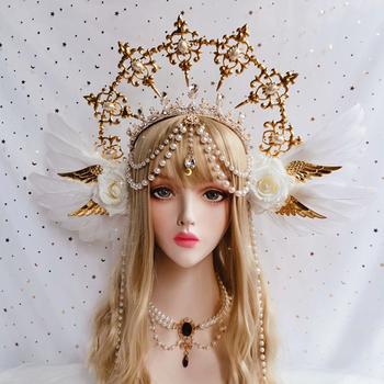 Lolita Sun Godmother's Crown Headwear KC Gothic White Rose Angel Wings Virgin Mary Bead Chain Baroque Tiara Hair Accessories - discount item  40% OFF Costumes & Accessories