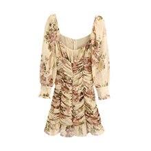 Women's Y2k Dresses Summer Sundresses Square Neck Flower Print Pleated Long Sleeve Elegant Casual One-piece Dress Korean Kawaii