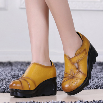New Arrival 2020 Women Autumn Genuine Leather High Heels Shoes Handmade Vintage Flower Embroidered Wedges Woman Pumps - discount item  30% OFF Women's Shoes