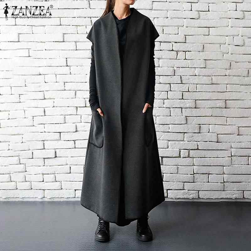 Autumn 2019 ZANZEA Women Vests Jackets Sleeveless Belt Thin Coat Overcoat Pockets Full Length Long Maxi Jackets  Plus Size S-5XL