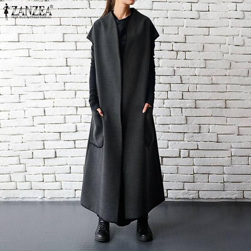 Осень 2020 ZANZEA женские жилеты куртки без рукавов с поясом тонкое пальто с карманами Длинные Макси куртки больших размеров S 5XL|Жилеты и безрукавки|   | АлиЭкспресс - Толстовки и худи