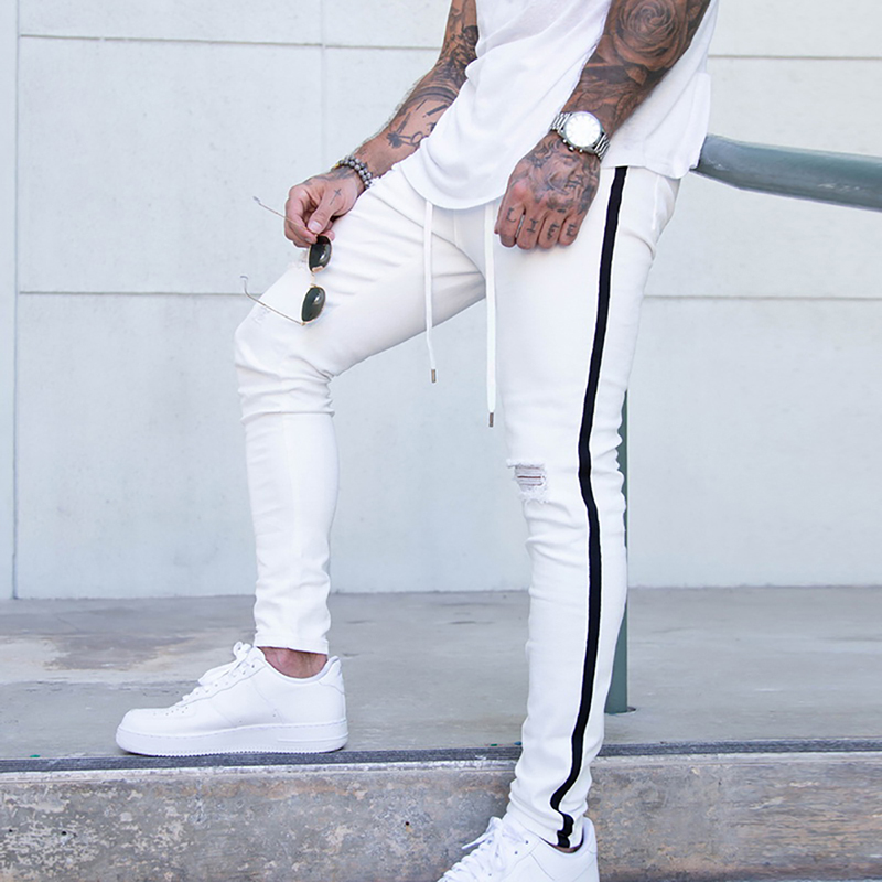 Laamei Trendy Men Skinny Jeans Biker Destroyed Frayed Fit Denim Ripped Denim Pants Side Stripe Pencil Pants Hip Hop Streetwear
