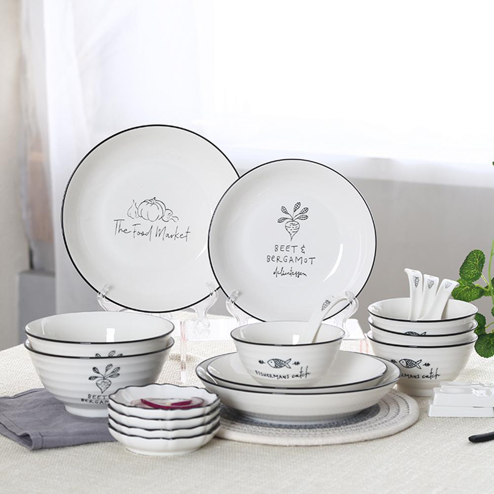 Studyset vaisselle en céramique | Modèle Simple, bol assiette baguettes cuillère 26 pièces/ensemble