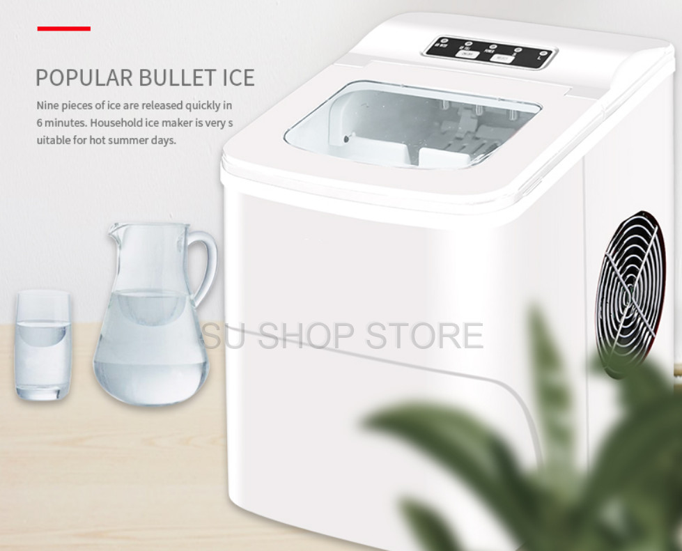 Portable Automatic Electric Ice Maker Household Mini Square Shape Ice Making Machine 15kg/24H Home Family Small Bar Coffee Shop