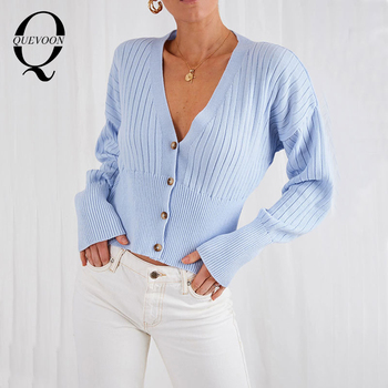 QUEVOON Elegant Sexy V Neck Cardigan Sweaters Ribbed Button Front Solid Knitting Female Sweater Autumn Winter Women Clothings lettuce edge trim button front ribbed dress