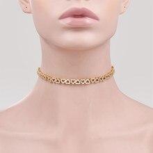 WEIMANJINGDIAN – collier ras du cou haut et bas en forme de cœur pour femme, bijoux en zircone cubique, cristal brillant, cadeaux
