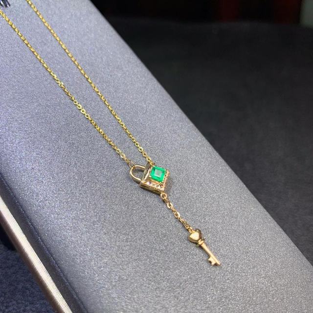 shilovem 18k yellow gold real Natural emerald Gemstone pendants plant women  necklace new Christmas Gift  dz09999933ml 4