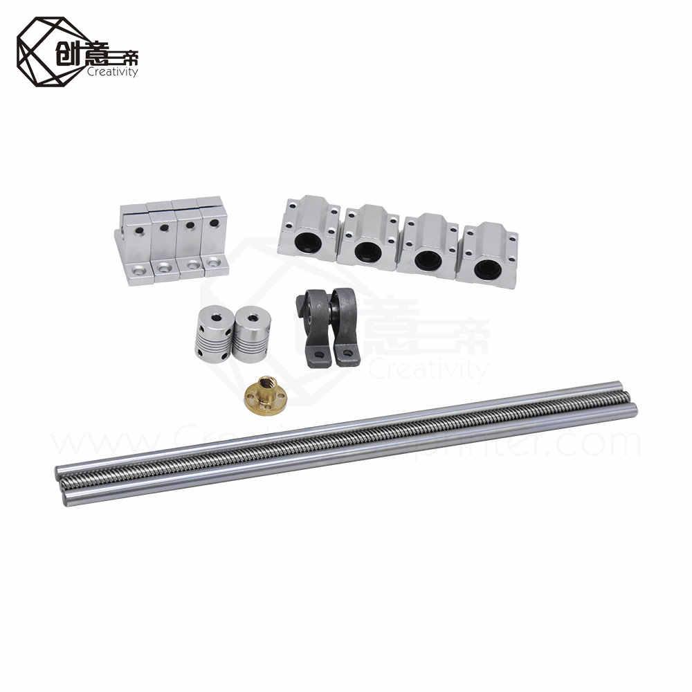 8MM T8 400*450mm Lead Screw Rod Linear Horizontal Dual Rail Guide Set