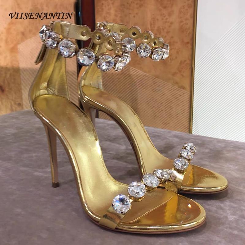 Rhinestone Strap Gold Sandal Shoes 2020 Summer Women Open Toe Thin Heel Stiletto Sexy Party Shoe Bling Bling Crystal Shoe