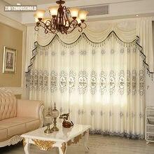 High-grade europeu oco bordado semi-sombreamento cortinas para sala de jantar quarto.