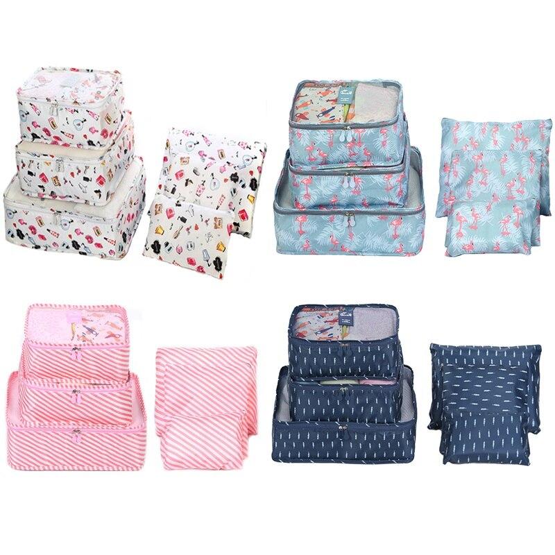 6 шт./компл. багаж чемодан Органайзер дорожная сумка для хранения сумки из сетчатого материала и тряпичной упаковки кубики одежда сумка для ...