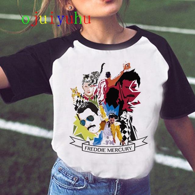 Freddie Mercury Queen Band T Shirt Women Harajuku Vintage Ullzang T-shirt Fashion Queen Tshirt 90s Graphic Rock Top Tees Female 2