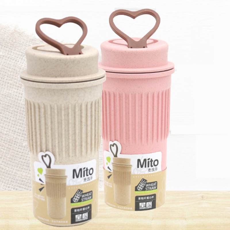 PP Travel Mugs Coffee Cup To Go Bottle With Lid Wheat Stalk Kitchen Bottle Sleeve Cup Mugs Drinkware For Tea Coffee Garrafa Cha
