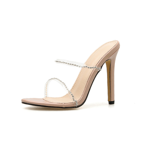 Image 3 - Kcenid 2020 새로운 패션 pvc 크리스탈 검투사 여성 슬리퍼 하이힐 라인 석 스트랩 여성 신발 섹시한 나이트 클럽 파티 신발
