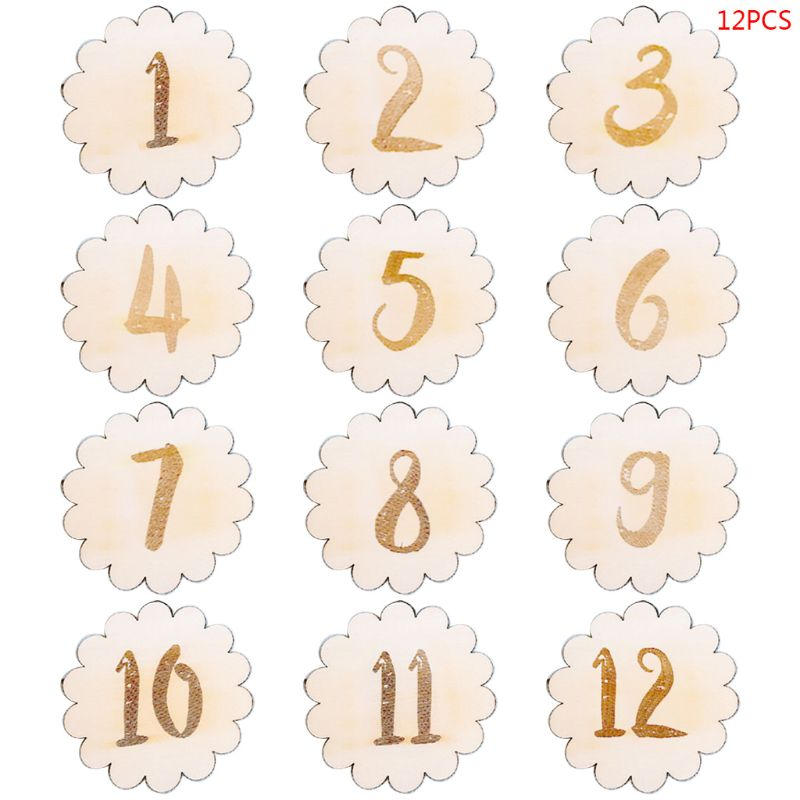 12 Pcs/set Wooden Baby Memorial Birthday Landmark Card Newborn Photography Props Photo Accessories Shoot Toys For Infants E65D