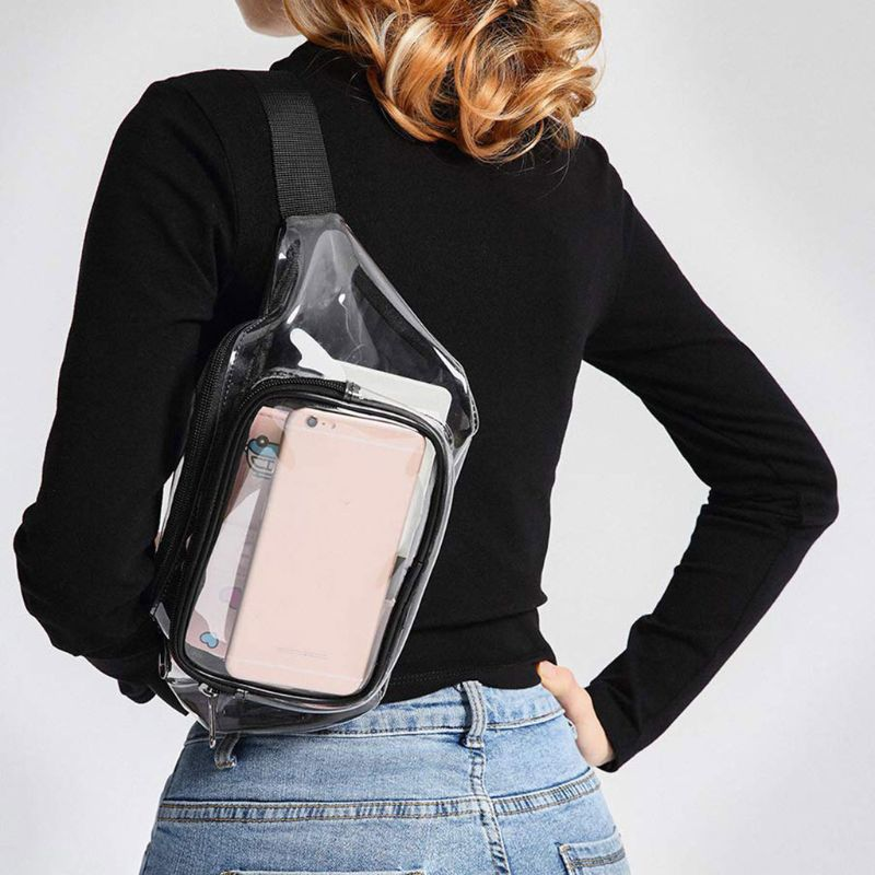Women Transparent Waist Fanny Pack Belt Bag Travel Hip Bum Small Purse Chest Phone Pouch F42A