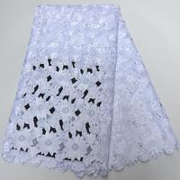 Pure white High quality wedding lace handcut African Fabric lace with stones 5 Yards 100% Cotton Swiss Voile Lace N88130