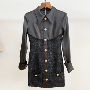 Image 3 - HIGH QUALITY New Fashion 2020 Runway Designer Dress Womens Long Sleeve Lion Metal Buttons Tweed Patchwork Dress
